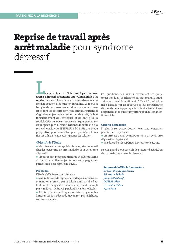 Reprise De Travail Apres Arret Maladie Pour Syndrome Depressif