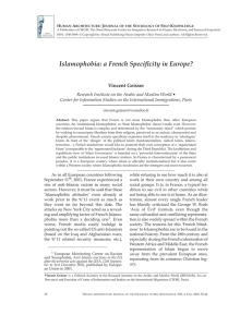 Islamophobia: a French Specificity in Europe?