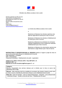 Instruction n° DGOS/PF2/49 du 19 février