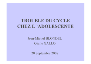 TROUBLE DU CYCLE CHEZ L `ADOLESCENTE
