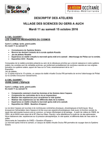 DESCRIPTIF DES ATELIERS VILLAGE DES