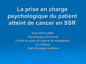 La prise en charge psychologique du patient atteint de cancer