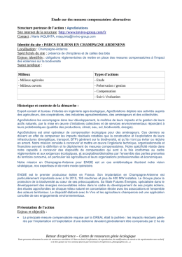 Etude sur des mesures compensatoires alternatives Structure