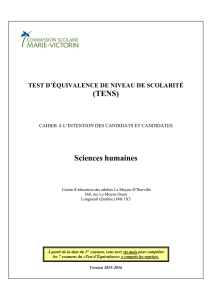 Sciences humaines - Commission scolaire Marie