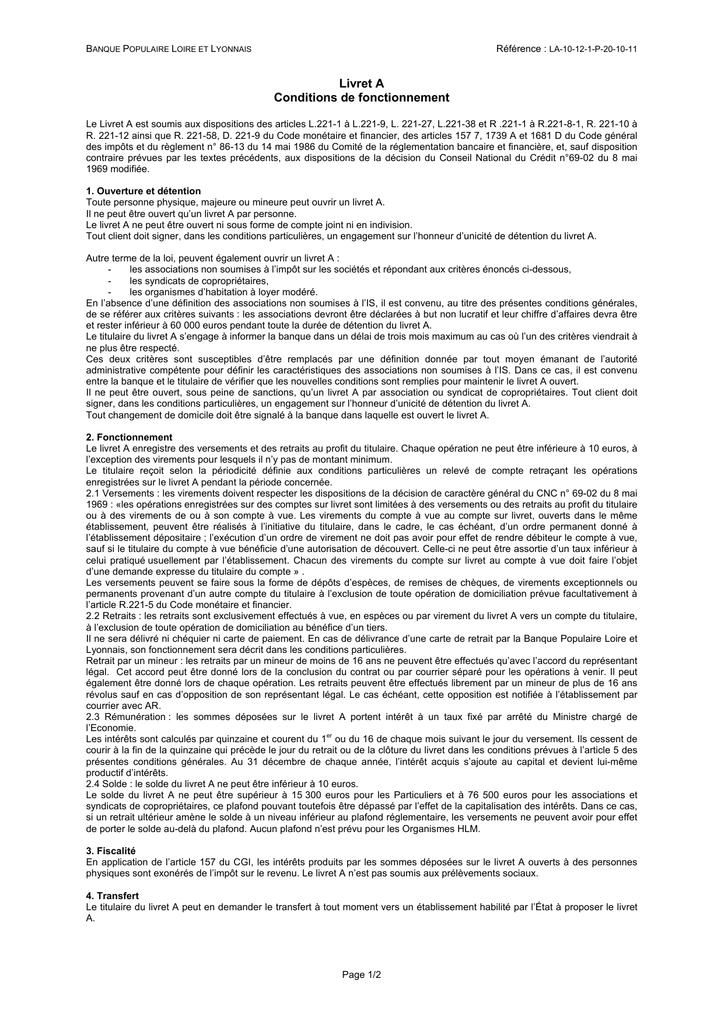Livret A Banque Populaire Loire Et Lyonnais