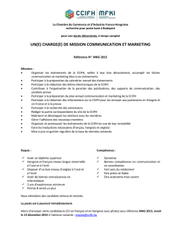 UN(E) CHARGE(E) DE MISSION COMMUNICATION ET MARKETING