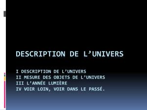 Description de l`univers I mesure des objets de l`univers II