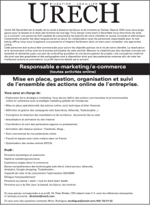 Responsable e-marketing / e-commerce Mise en place, gestion