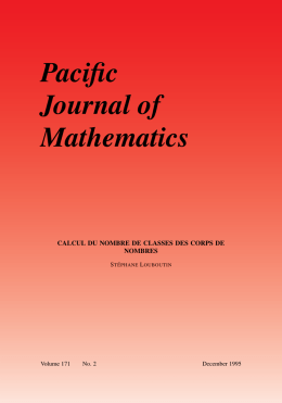 For printing - Mathematical Sciences Publishers