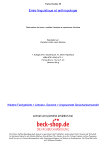 Entre linguistique et anthropologie - Toc - Beck-Shop