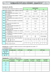 Exercices Approximation d`un nombre