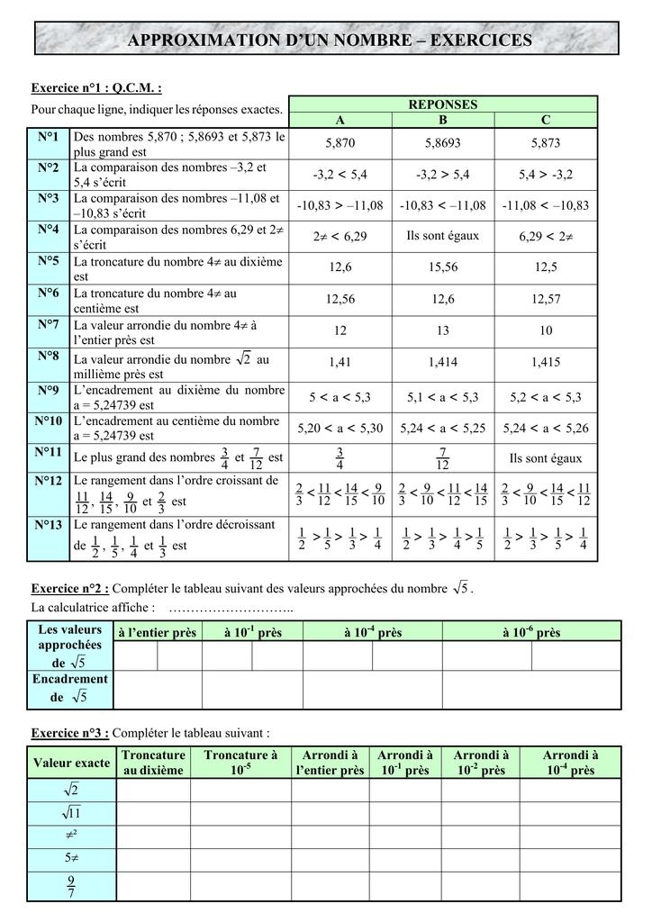 Exercices Approximation D Un Nombre