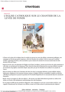 L`Eglise catholique sur le chantier de la levée de fonds