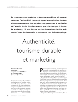Authenticité, tourisme durable et marketing