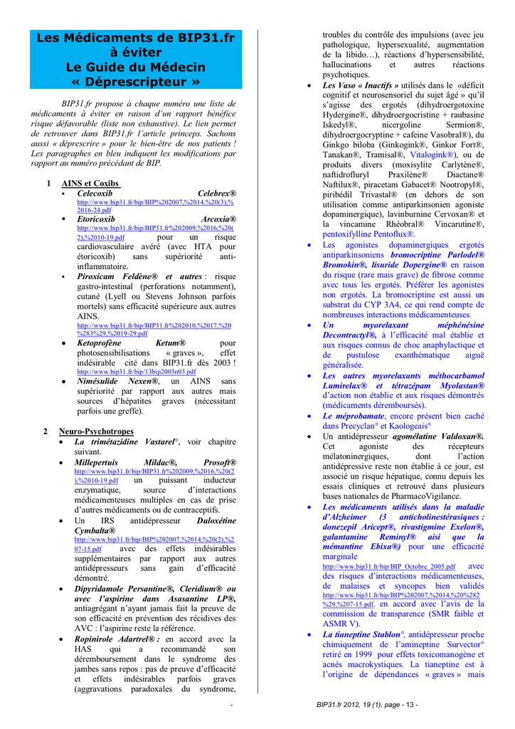 Les Médicaments de BIP31.fr à éviter Le Guide du Médecin