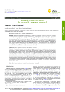 Vitamin D and Cancer - OCL - Oilseeds and fats, Crops and Lipids
