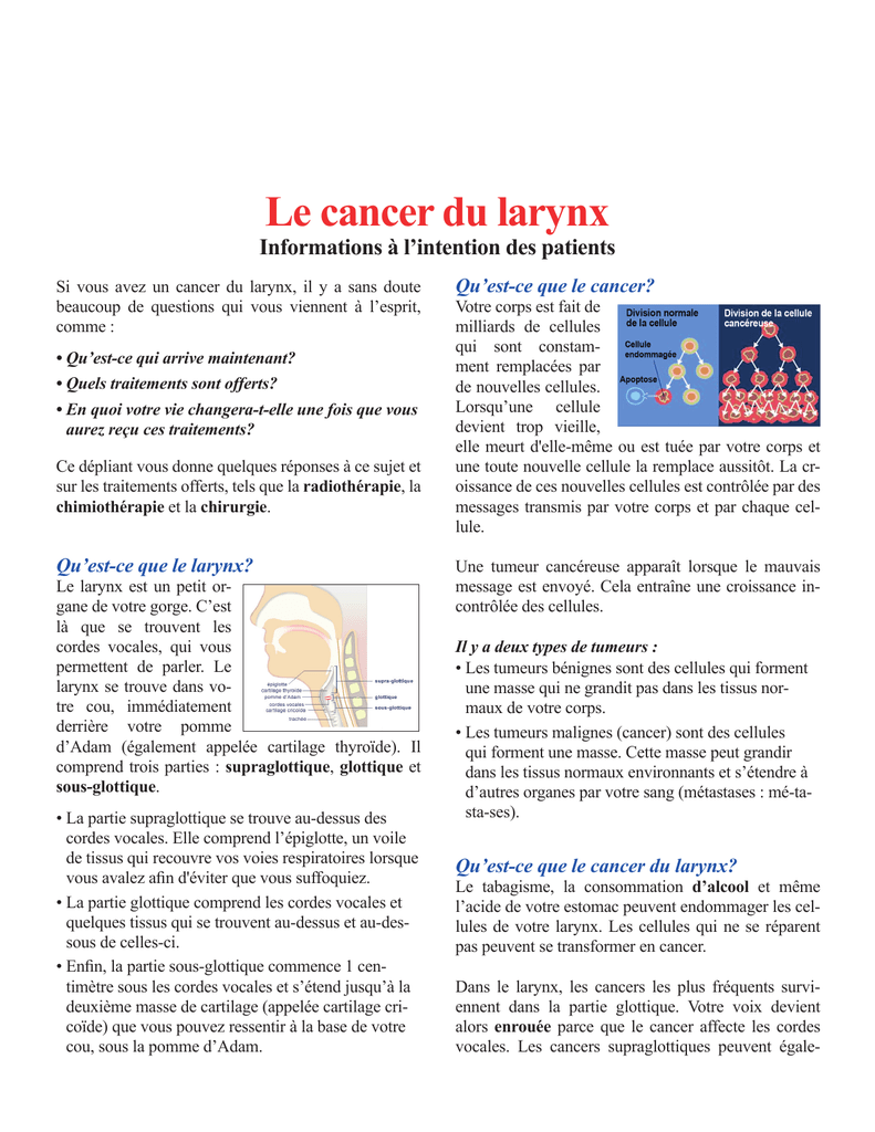 Le cancer du larynx - Éducation des patients de l`Institut des Cèdres