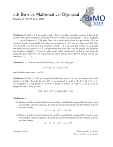 5th Benelux Mathematical Olympiad