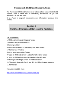 Childhood Cancer - 4 - Non-ionising radiation