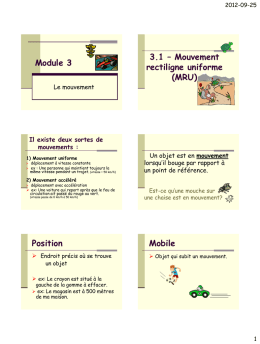 Module 3 3.1 – Mouvement rectiligne uniforme (MRU) Position Mobile