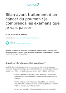 Bilan avant traitement d`un cancer du poumon : je comprends les