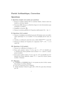 Partiel Arithmétique, Correction Questions