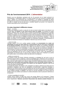 Feuille informative - alimentation