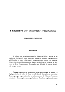 L`unification des interactions fondamentales