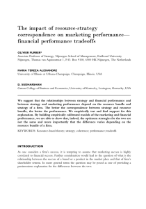 The impact of resource-strategy correspondence on marketing