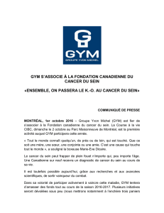 gym s`associe à la fondation canadienne du cancer du sein