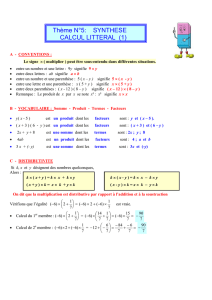 Thème N°5: SYNTHESE CALCUL LITTERAL (1)