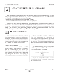 les applications de la loi d`ohm