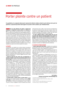 Porter plainte contre un patient