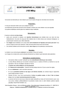 SCINTIGRAPHIE A L`IODE 131 (185 MBq)