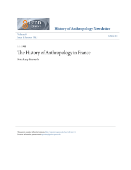 The History of Anthropology in France