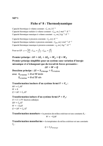 Fiche n° 8 : Thermodynamique - MP*1