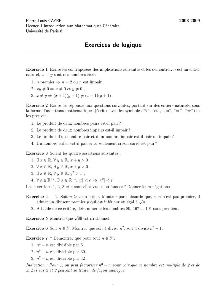 Exercices de logique - Pierre