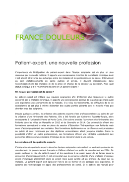 Patient-expert, une nouvelle profession
