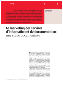 Le marketing des services d`information et de documentation