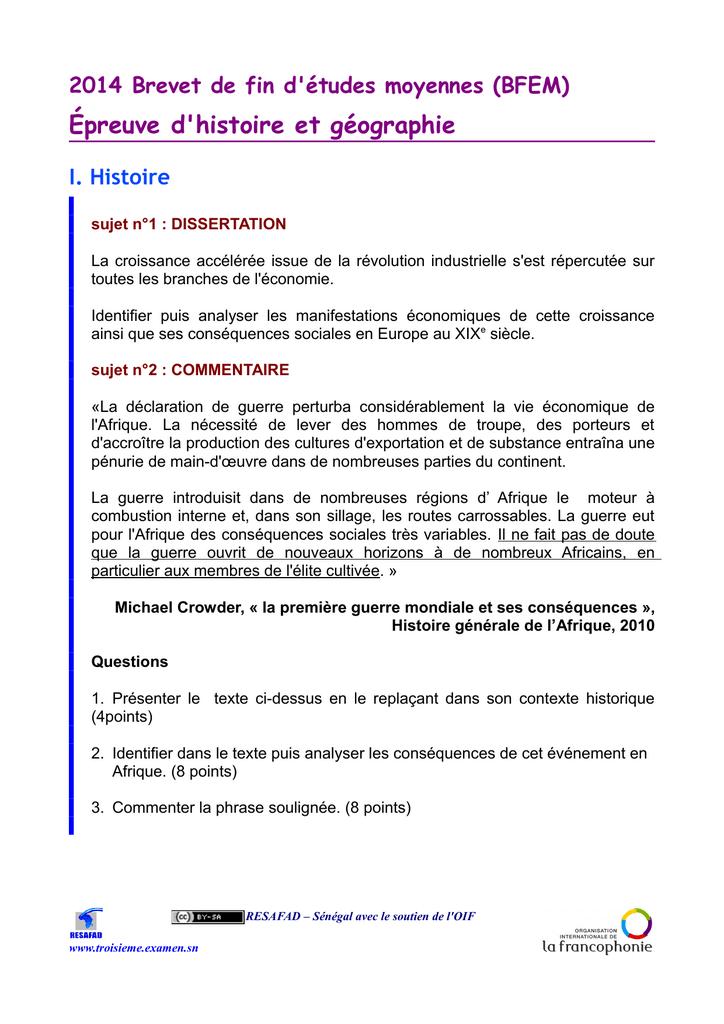 sujet dissertation bfem 2014
