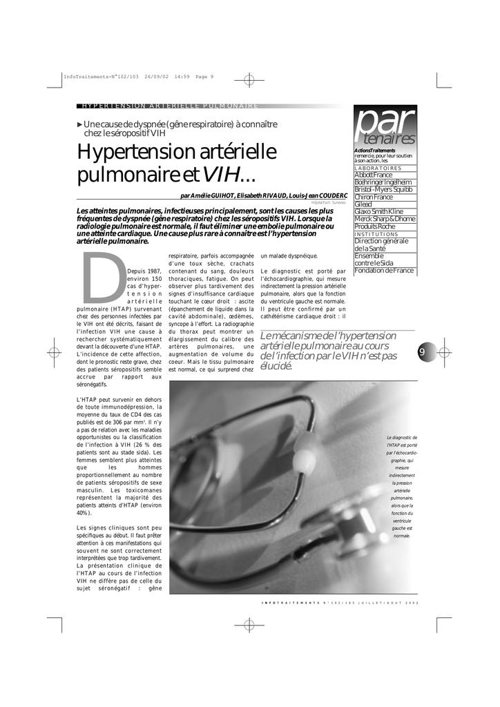 Hypertension artérielle pulmonaire et V I H.