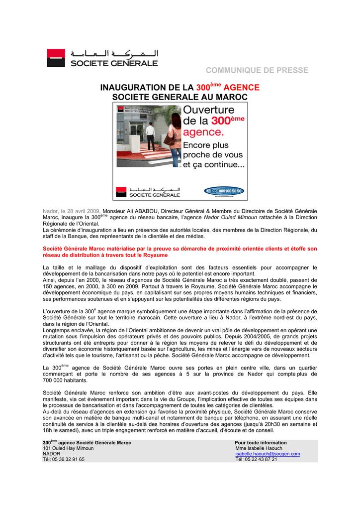 Societe Generale Maroc Inaugure Sa 300eme Agence