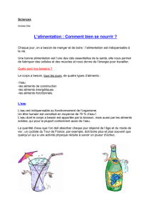 Sciences L`alimentation