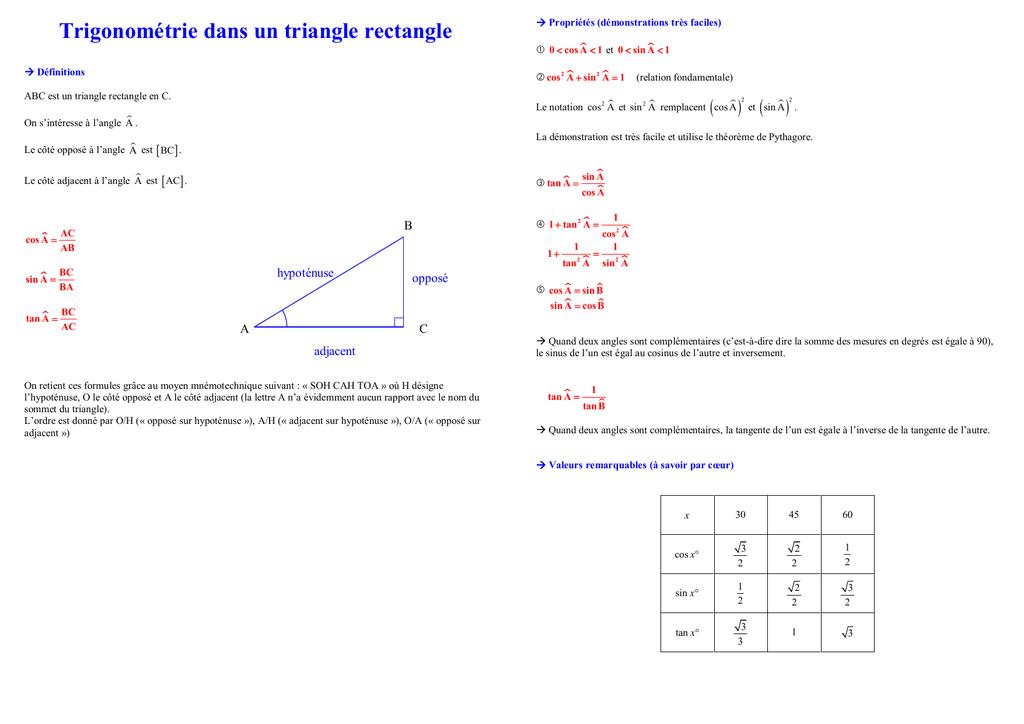 Trigonometrie Dans Un Triangle Rectangle