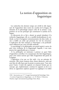 La notion d`opposition en linguistique