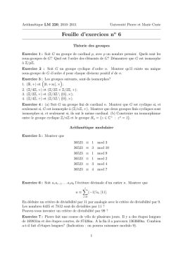 Feuille d`exercices no 6
