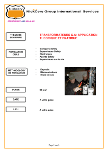 TRANSFORMATEURS C.A: APPLICATION THEORIQUE ET