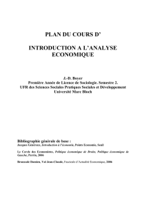 PLAN DU COURS D` INTRODUCTION A L`ANALYSE ECONOMIQUE