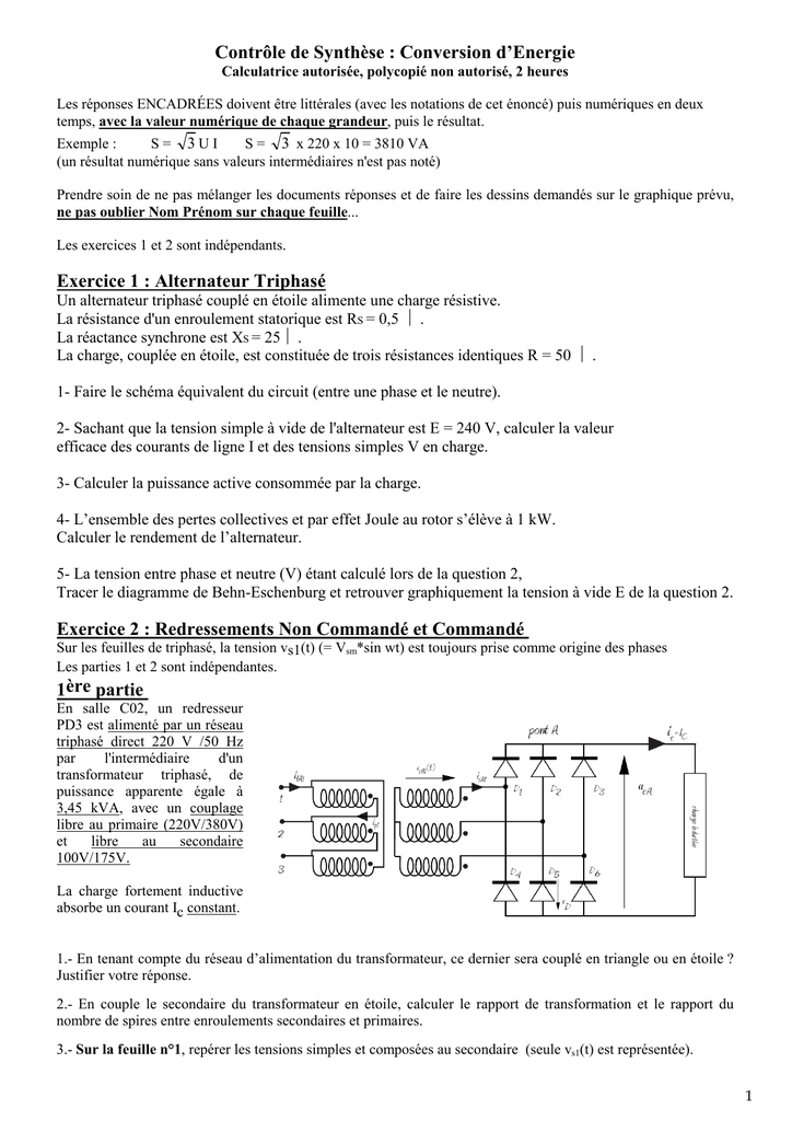 Conversion D Energie Exercice 1