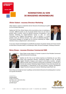 Nominations d`O. Dubost et de R. Sharps chez Brasseries